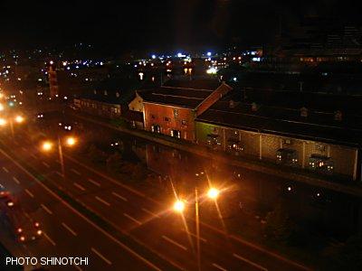 運河の宿ふる川特別室Bから見下ろす夜の小樽運河