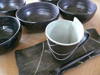益子焼黒い陶器