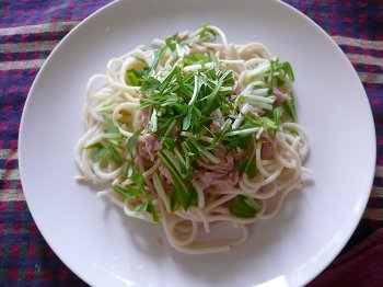 ツナと水菜の冷製パスタ